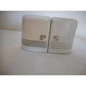 Vtg art deco silver white ceramic Salt & Pepper